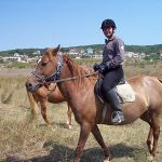 With Horse Galia in the Bulgarian Landscape