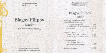 """Neugebauers evening"" - Blagoy Filipov plays Mozart, Chopin und Debussy"